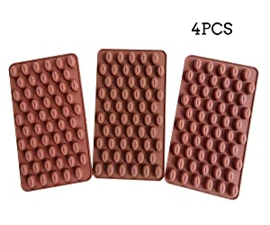 AxeSickle Mini Coffee Beans Chocolate Mold 4PCS Silicon Mold Small Candy Molds, Hard Candy Mold, Baking Mold, Cake Decorating.