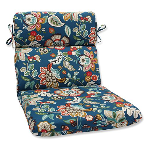Pillow Perfect Outdoor Telfair Rounded Corners Chair Cushion, Peacock