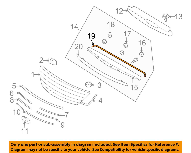 Genuine Hyundai 86357-3L000 Radiator Grille Strip