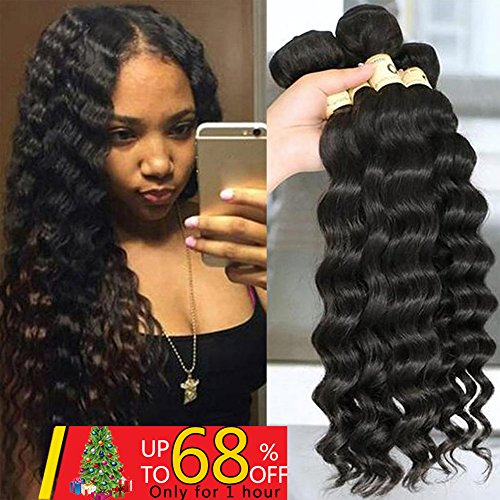 QTHAIR 10A Grade Peruvian Loose Deep Curly Wave 3 Bundles (10