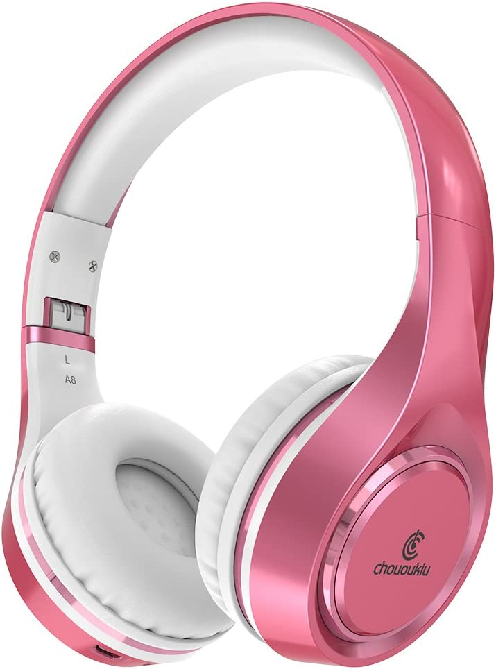 Bluetooth Headphones On Ear, Chououkiu Wireless Headset Foldable Hi-Fi Stereo Headphone with Mic in-line Volume, Wired and Wireless Headphones for Cell Phone/TV/PC (Rose/Gold)
