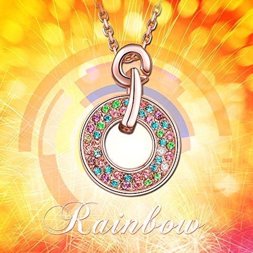 """Ladycolour """"Rainbow"""" multicolores Ensemble de bijoux fait avec cristaux Swarovski, pendentif et boucles d'oreille à tige"""
