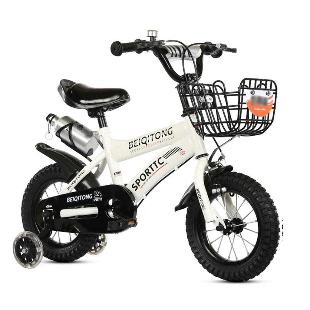 子供の自転車12|14|16|18|20インチ屋外の子供ベイビーキッドマウンテンバイクフラッシュトレーニングホイールで2歳から11歳の男の子の女の子の贈り物|アイアンバスケット|ウォーターボトルセーフダンプホワイト B078K7K1BG 20 inches