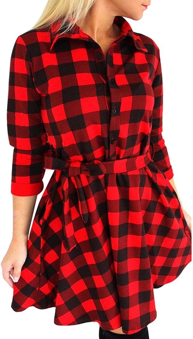 Kleider,Frashing Frauen Dünne Kleider Langarm Bluse Rot Kariert Plaid  V-Ausschnitt Shirts Mini Kleid Damen Kariertes Kleid Langarmshirt Hemdkleid