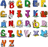 Educational Wall Sticker Animal Alphabet Art Letters - Adorable Set of 26 ABC Letter Decals to Decorate The Walls in Nursery and Kids Rooms - Attractive and Funny Learning Tool for Creative Young Children (Large)