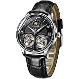 Binger Men's Luxury Automatic Mechanical Wrist Watch with Double Tourbillon Leather