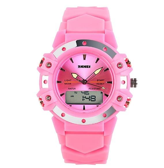 banda de goma de color rosa alarma de reloj de pulsera electrónica reloj deportivo de moda digital de escalada al aire libre de los niños: Amazon.es: ...