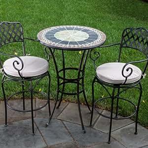 Alfresco Home Ponte Indoor Outdoor Round Mosaic Bar Bistro Dining Set, 30-Inch