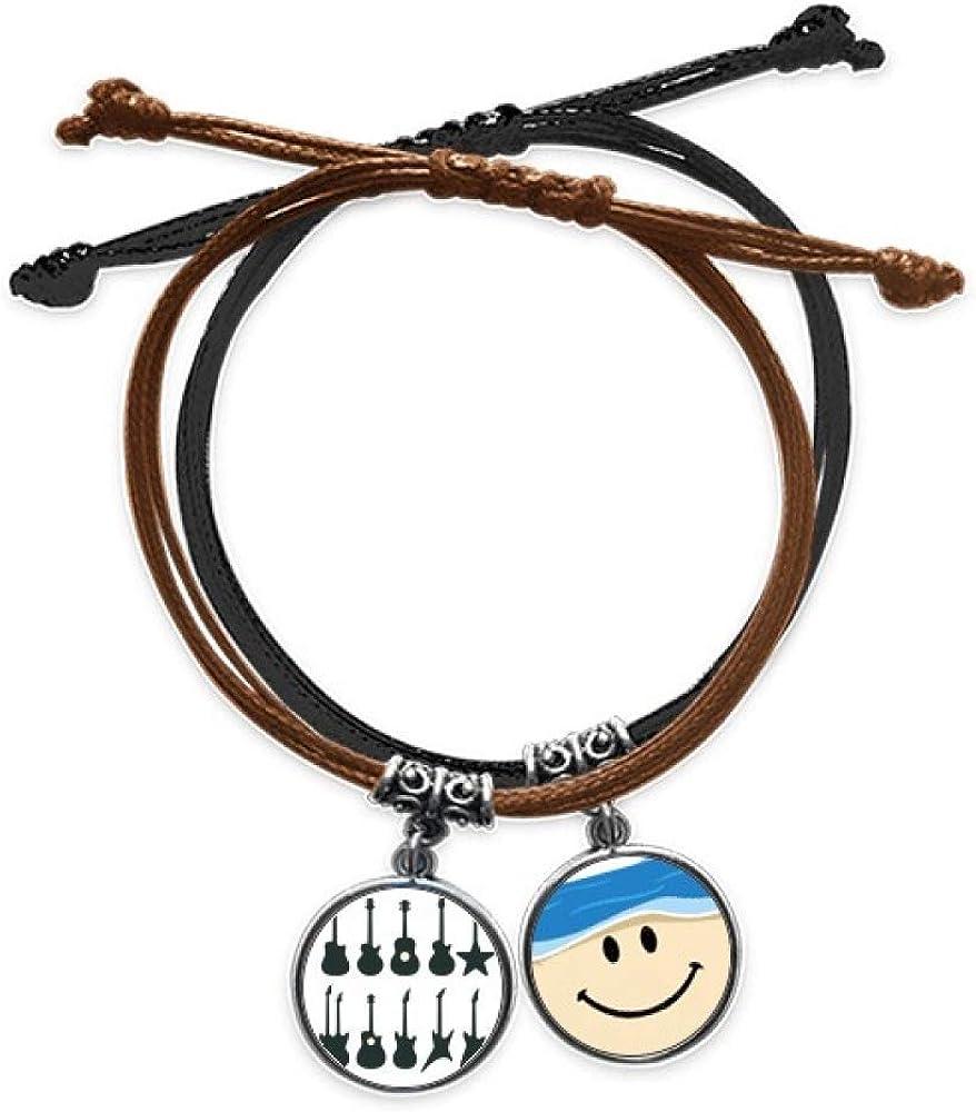 Bestchong Pulsera de cuero para guitarra eléctrica, sonido vitalidad, cuerda para la mano, pulsera sonriente