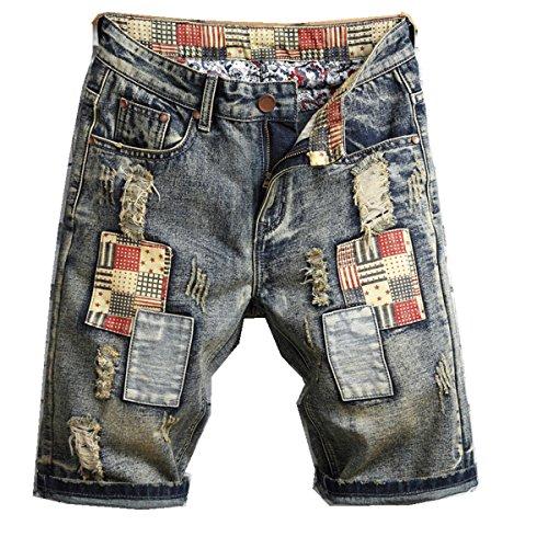 Liuhond Men's Casual Denim Ripped Mid Waist Distressed Jeans Shorts Hole Cut-Off Short Dark Blue (30, Brown)