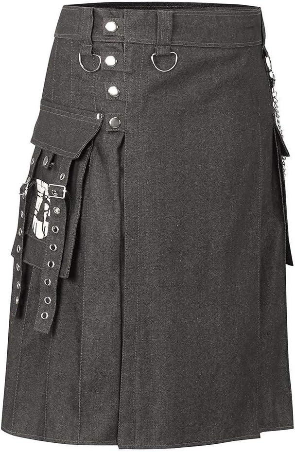 BIKETAFUWY Herren Scottish Kilt Combat mit Tasche Cosplay Punk Gothic Asymmetry Pleated Half Skirt Cosplay Party Costume Cargo-Kilt mit Taschen