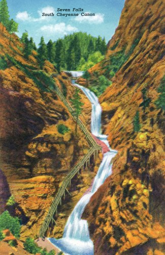 Colorado Springs, Colorado - View of Seven Falls, South Cheyenne Canyon (16x24 SIGNED Print Master Giclee Print w/Certificate of Authenticity - Wall Decor Travel -