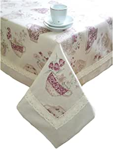 "Provence Cotton Tablecloth with Cotton Lace in French Country Style, 55""x55"", Purple Cups"