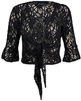 Cima Mode's Womens Plus Size Floral Sequin Lace Bolero Cropped Shrugs Top Size 10-22