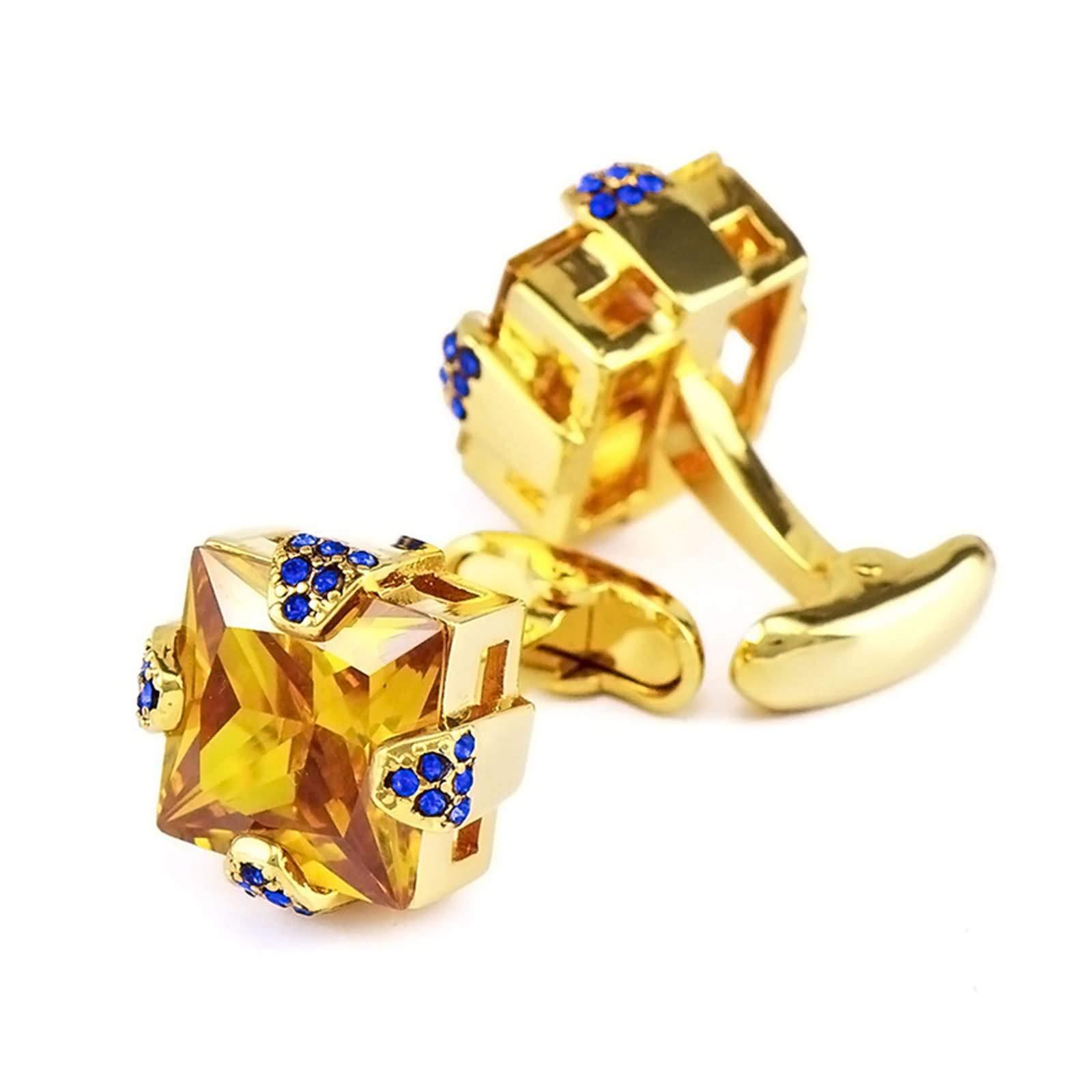 Adisaer Cufflinks Champagne Copper Square Cubic Zirconia Champagne Blue Dad Cufflinks