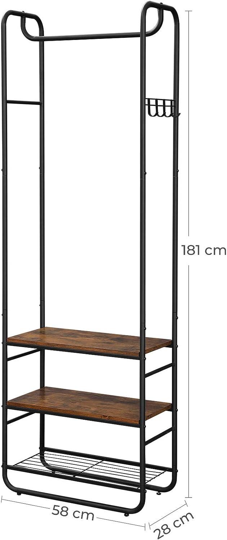 Dormitorio Vest/íbulo Estantes de Almacenamiento 58 x 28 x 181 cm /Árbol del Vest/íbulo VASAGLE Perchero Marr/ón R/ústico y Negro HSR81BX Perchero con Zapatero Estilo Industrial