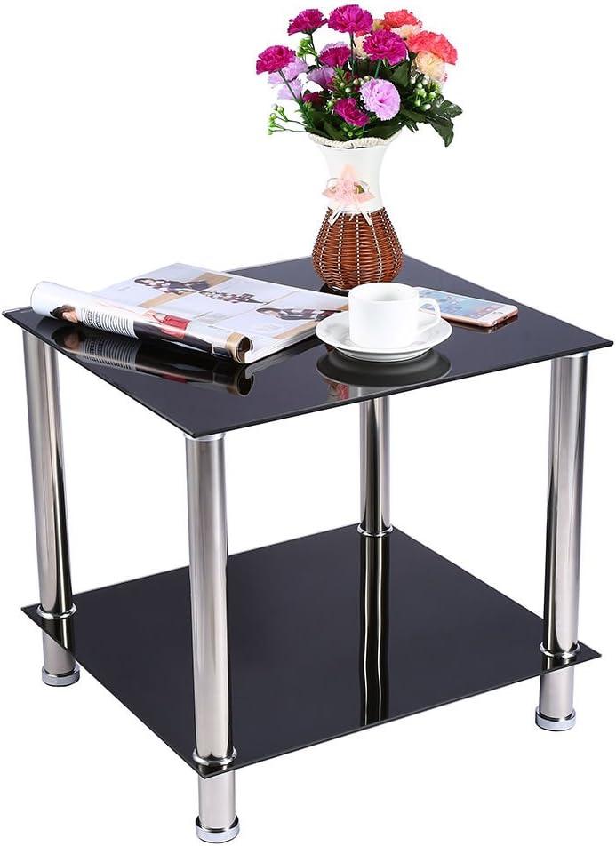 49.5 cm /× 45.6 cm /× 45.5 cm Table basse en verre Noir 2 Etages Table en Verre Tremp/é Moderne Gigognes Table dextr/émit/é Carr/ée avec Etag/ères pour Salles de S/éjour Salons Etudes