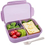 Bento Box,Bento lunch Box for Kids and Adults, Leakproof Lunch Containers with 3 Compartments, Lunch box Made by Wheat…