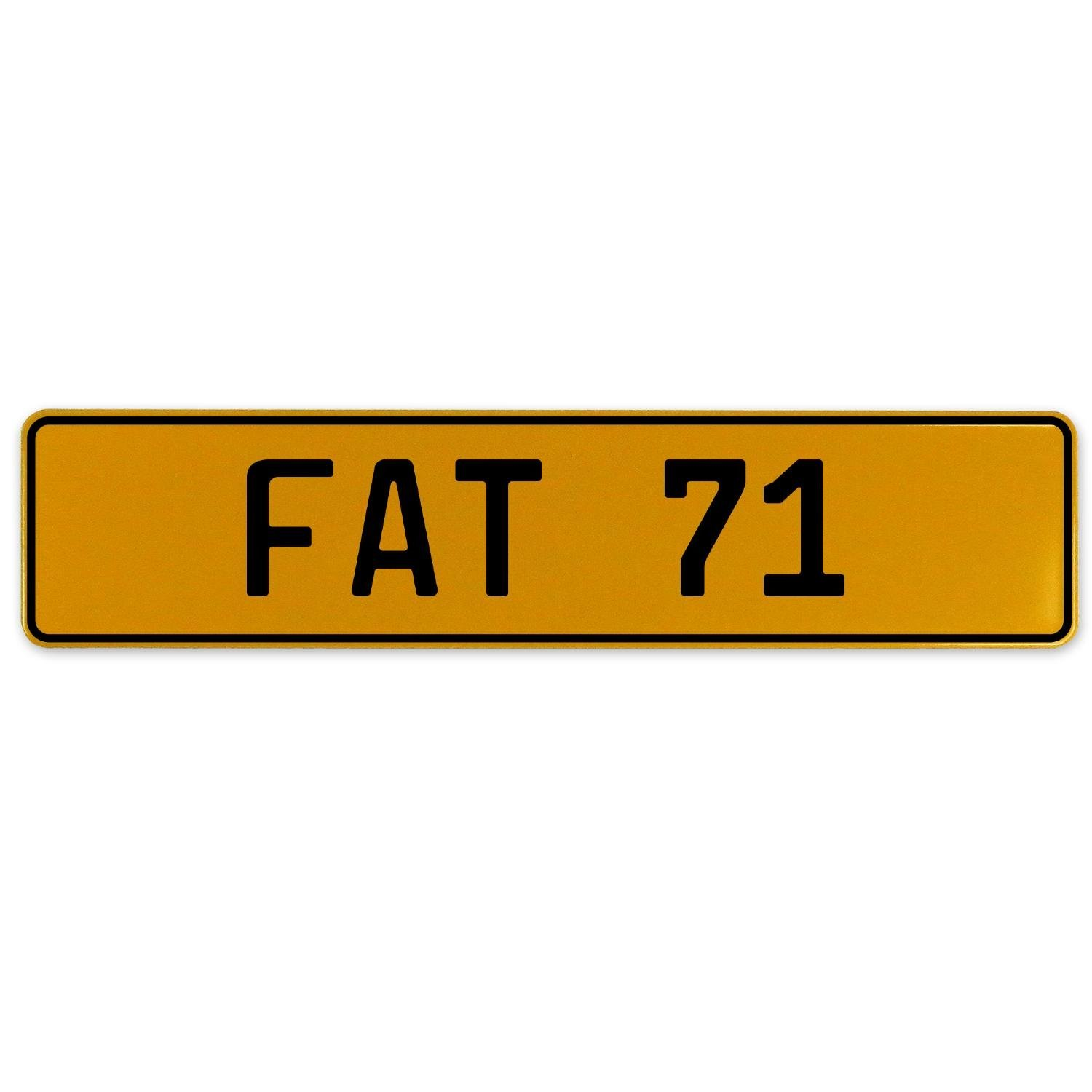 Fat 71 Vintage Parts 559618 Yellow Stamped Aluminum European Plate