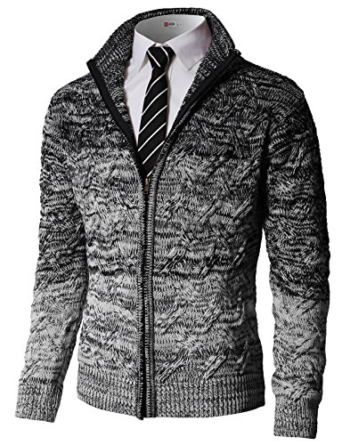 H2H Mens Casual Knitted Cardigan Zip-up with Twisted Pattern - US L (Asia XL) - Kmocal0133-black -