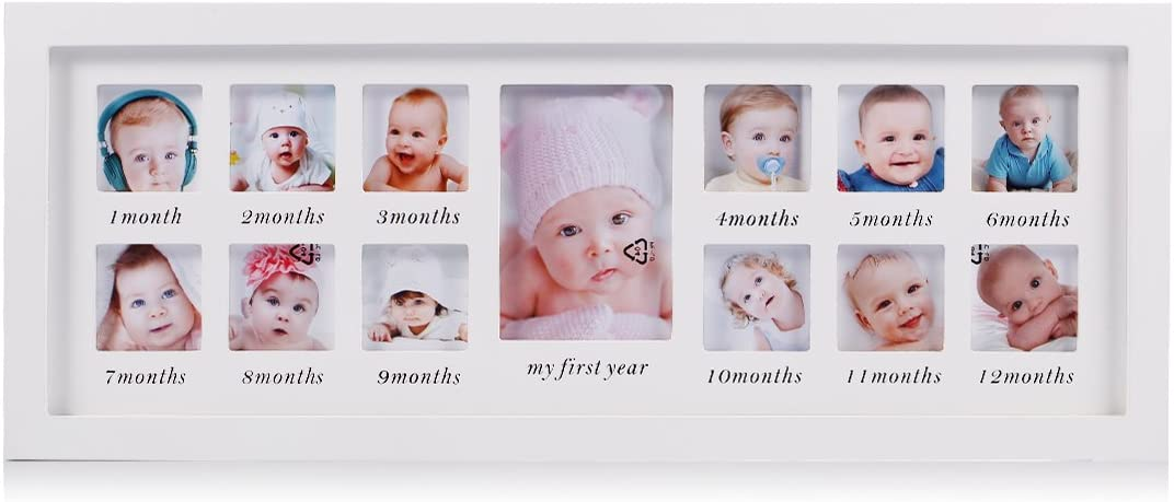 Mi primer año bebé marco de fotos bebé recién nacido recuerdo marco kit madera niños pared colgante marco de fotos 12 meses marco de foto (blanco)-regalos únicos para bebés las decoraciones perfectas