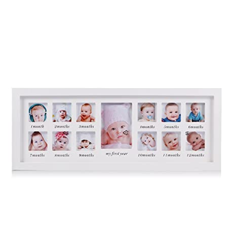 Mi primer año bebé marco de fotos bebé recién nacido recuerdo marco kit madera niños pared colgante marco de fotos 12 meses marco de foto ...