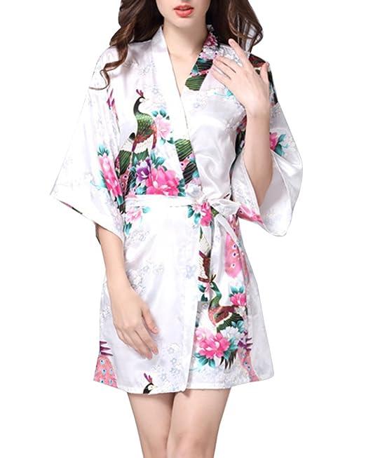 GladiolusA Kimono Mujer Bata Estampado Flores Pijamas Corto De Satén Albornoces Camisón Suave