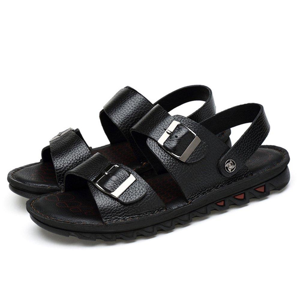 Xiaoqin Herren Offene Spitze Casual Leder Sommer Breathable Sandale Rutschfeste Einstellbare Sommer Leder Strand Sandalen (Farbe : Braun, Größe : 40 2/3 EU) schwarz e13281