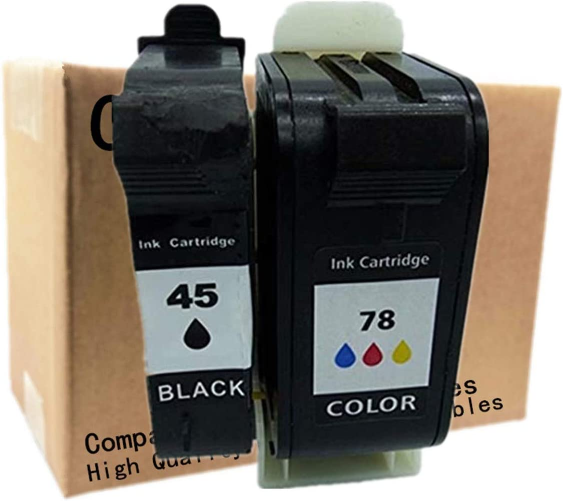 No-name Remanufactured Ink Cartridges Replacement for HP 45 78 XL 45XL 78XL HP45 HP78 Color Copier 180 190 280 290 Officejet 1170 G55 G85 G95 K60 K80 5110 Photosmart 1000 1100 1115 1215 (1 Set)