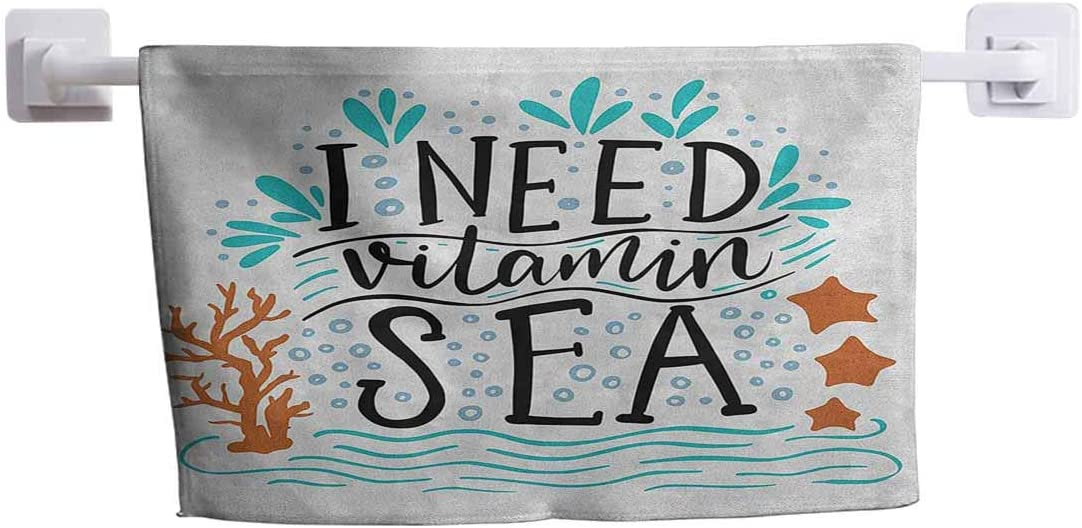 """DayDayFun Hand Towel Sea Custom Towels with Picture I Need Vitamin Sea Inspirational Quote Hand Drawn with Coral Waves Starfishes Bubbles 8"""" x 24"""" Multicolor"""