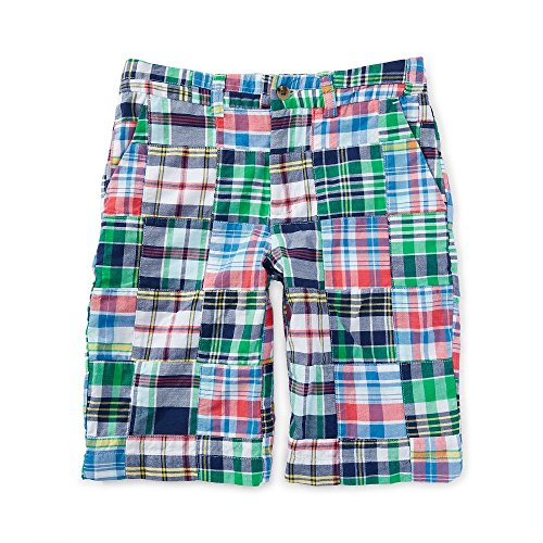 Patchwork Boys Shorts (Ralph Lauren Boys Cotton Patchwork Short --White\Blue Multi)