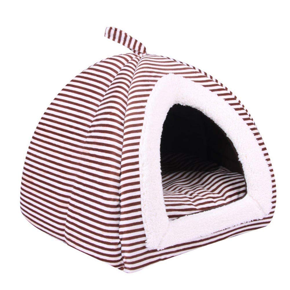 L Foldable Soft Warm Dog Bed Pet House, Cute Stripe Plush Dog Beds Kennel Nest Cat Tent Travel Puppy Cave Kennel,L