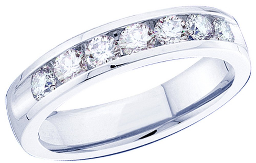 Size - 10 - 14k White Gold Round Cut Seven Diamond Ladies Womens Channel Set 7 Stone Wedding or Anniversary 2mm Ring Band (1/8 cttw)