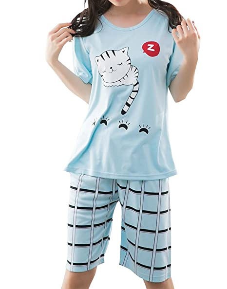 5f880c77b8 Image Unavailable. Image not available for. Color  YUEXIN Big Girls Lovely Sleepy  Cats Cartoon Loungewear Summer Pajamas Nightwear