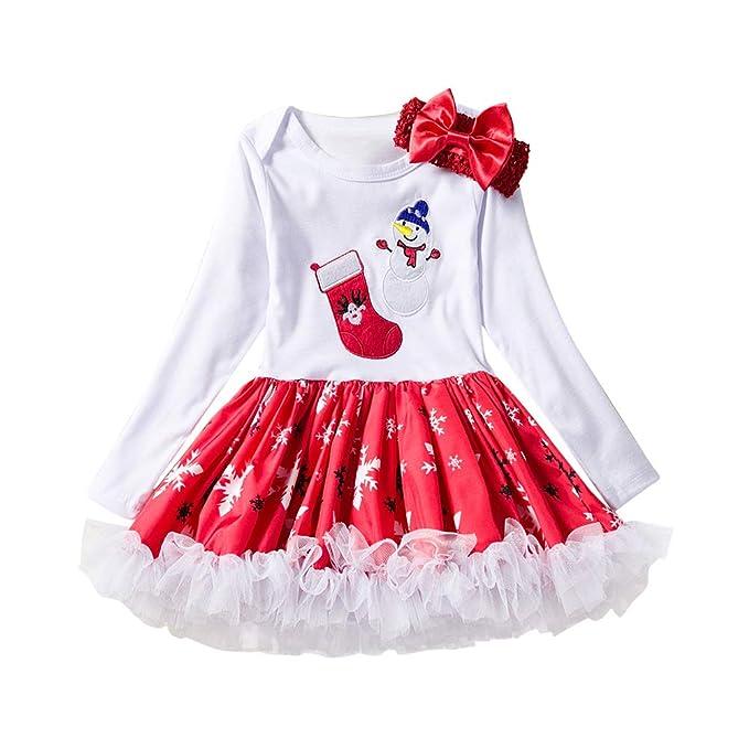 Zhhlinyuan Chicas recién Nacidas Vestidos de Navidad - Patrón de Muñeco de Nieve Impreso Manga Larga Vestido de Princesa de Navidad con Diadema: Amazon.es: ...