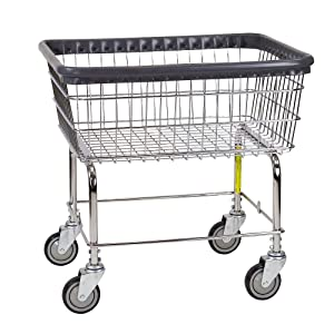 R&B Wire 96B Light Duty Rolling Wire Laundry Cart, 2.5 Bushel, Chrome