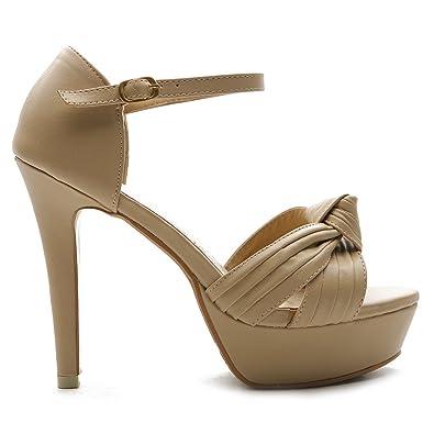 0754b3298e3 Ollio Women s Shoe Plateform High Heels Ankle Strap Multi Color Sandal(7.5  B(M