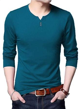 883c7762 AIYINO Mens Casual Slim Fit Long Sleeve Henley T-Shirts Cotton Shirts:  Amazon.co.uk: Clothing