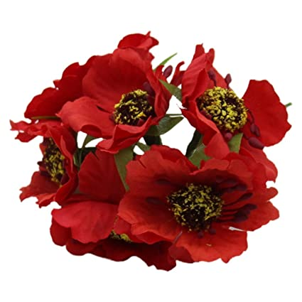 Amazon Artificial Poppies Camellia Sodialr Silk Poppies