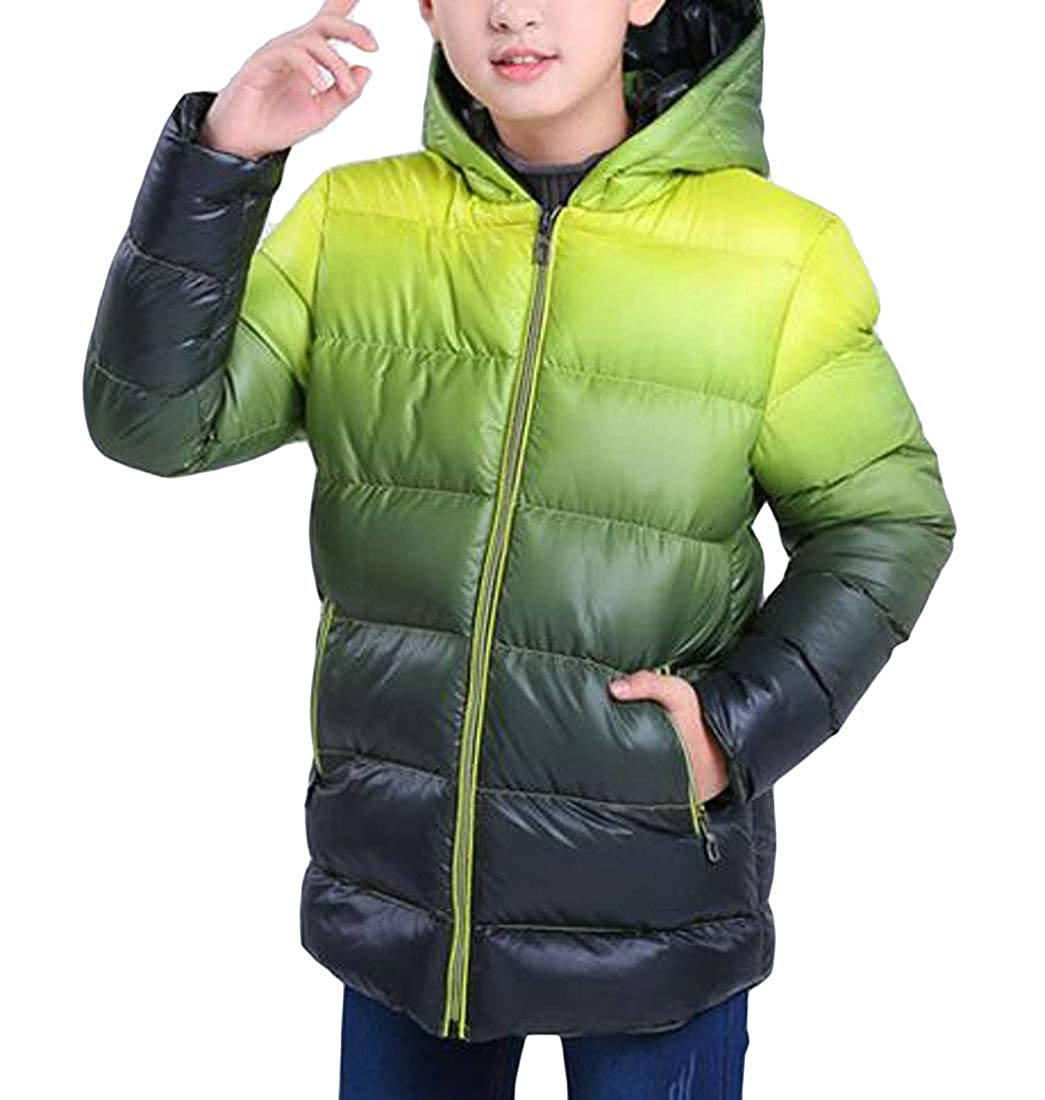 Joe Wenko Boys Overcoat Quilted Slim Fit Thickened Hooded Parkas Coats