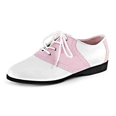 5250fb90f2f59 Amazon.com: Womens Saddle Oxford Shoes Two Tone White Pink Lace Up ...