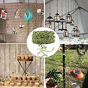 Artificial Vines, 131Ft Artificial Plants Leaves Decor Garland Fake Hanging Silk Ivy Garlands Green Leaves Foliage Flowers Ribbon Wreath for Wedding Party Wall Crafts Party Indoor Outdoor DIY Decor 5