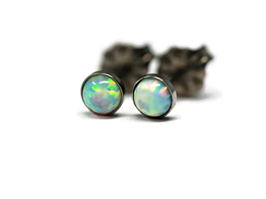 Tiny Created Opal and Titanium 4mm Hypoallergenic Stud Earrings