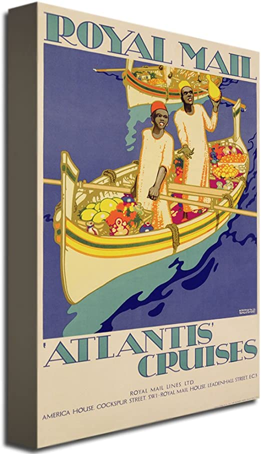 Amazon Com Atlantis Cruises 1930 By Kenneth Shoesmith 22x32 Inch Canvas Wall Art Oil Paintings Posters Prints