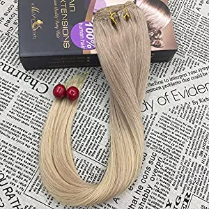 """Moresoo 18"""" 120 Grams Ombre Light Ash Blonde to Blonde Highlighted with Light Ash Blonde Human Hair Clip on Extensions Full Head Set Remy Clip in Hair Extensions"""