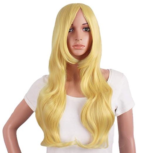 Mapofbeauty 28 Pulgadas/70cm Hermosa Encantadora Mujer Onda Larga Curly Oblicuo Flequillo Peluca Sintetica(Rubia): Amazon.es: Belleza