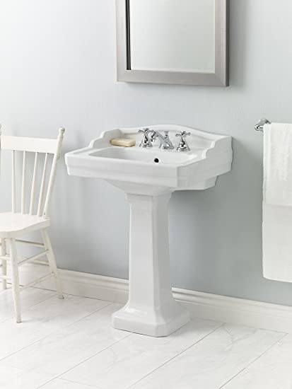Cheviot Products Inc. 553-WH-8 Essex Pedestal Sink 3 Faucet Hole, 8 inch Spacing, White