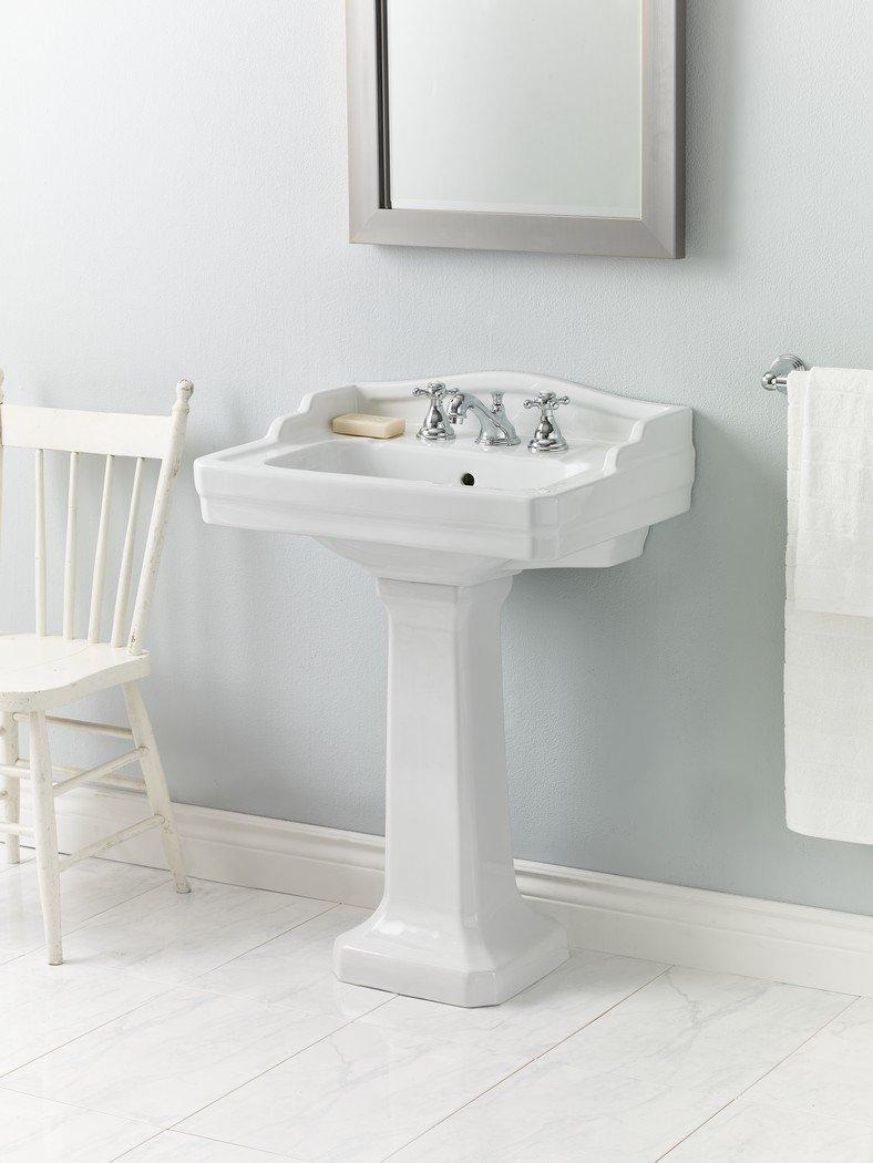 Cheviot Products Inc. 553-WH-4 Essex Pedestal Sink 3 Faucet Hole, White