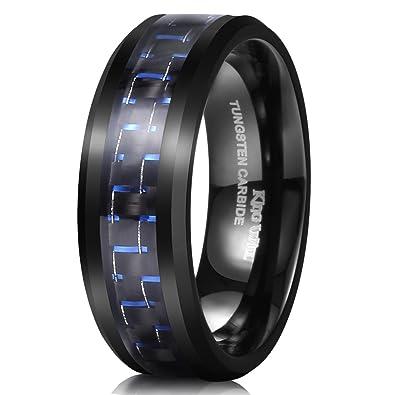king will gentleman tungsten 8mm black and blue carbon fiber inlay high polish mens wedding band