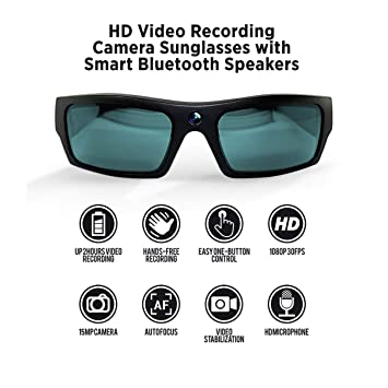 0431a0680c Amazon.in  Buy GoVision SOL 1080p HD Camera Glasses Video Recording Sport  Sunglasses with Bluetooth Speakers and 15mp Camera - Black Online at Low  Prices in ...